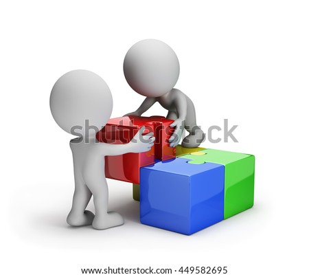 The friendly team connects puzzle pieces. 3d image. White background. - stock photo