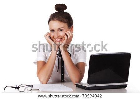 The friendly young woman sitting at your desk looks coquettishly. A series of modern, airy office.