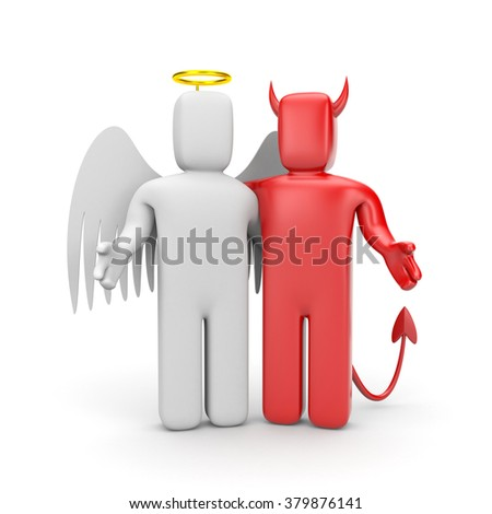 The friendship between angel and demon - stock photo
