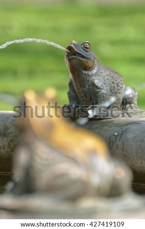 the frog is an element of the fountain. - stock photo