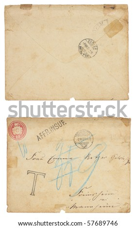 The front and back of a grungy, stained, torn vintage envelope with insufficient postage. Handwriting, postage and Zurich postage cancellation on front. Isolated on white with clipping path.