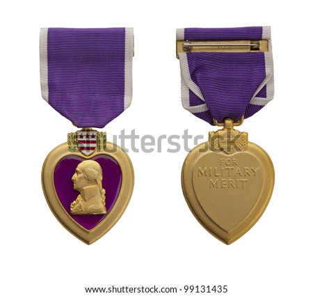 The front and back of a modern US Purple Heart medal. - stock photo