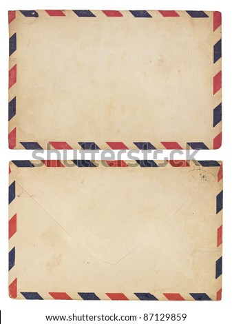 The front and back of an aging airmail envelope with red and blue striped border. Isolated on white with clipping path. - stock photo
