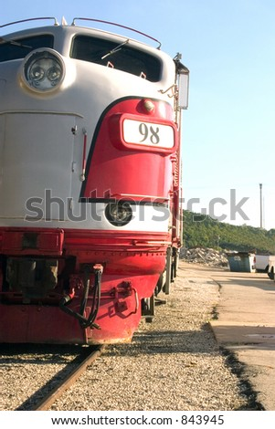 The front end of a diesel locomotive - stock photo