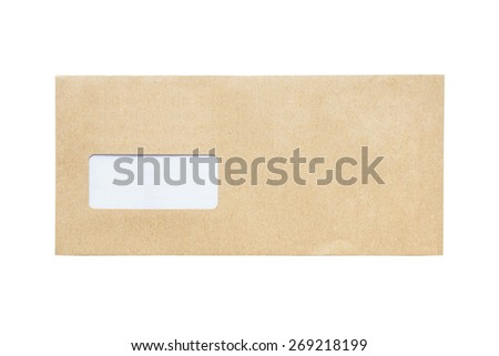 The front envelope isolated on a white background - stock photo