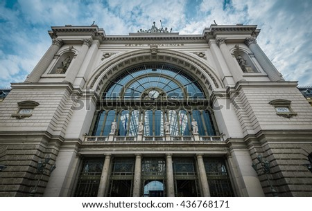 The front facade of East Railway (Keleti) station in Budapest,Hungary. - stock photo