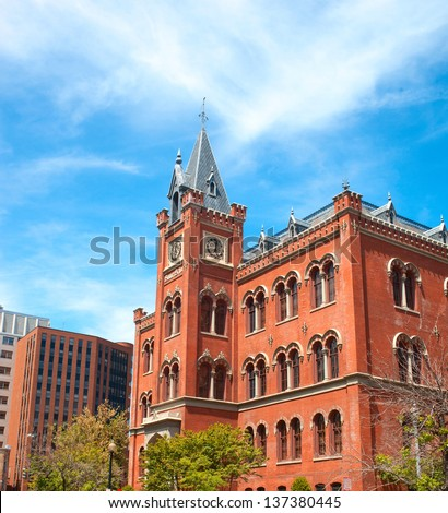 The front of a famous apartment building in New York City - stock photo