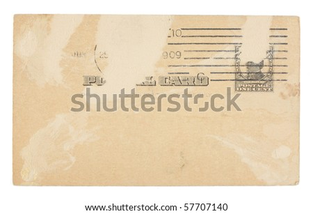 The front of a heavily distressed vintage plain United States postcard from early 1900s with one-cent postage. Dirt and creases. Isolated on white with clipping path. - stock photo