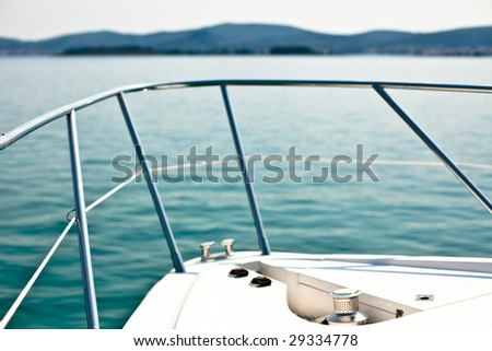 the front of a motor boat - stock photo