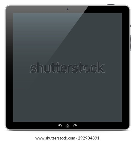 The Front of a Squarish Abstract Tablet PC on White Background with Smooth Shadow. - stock photo