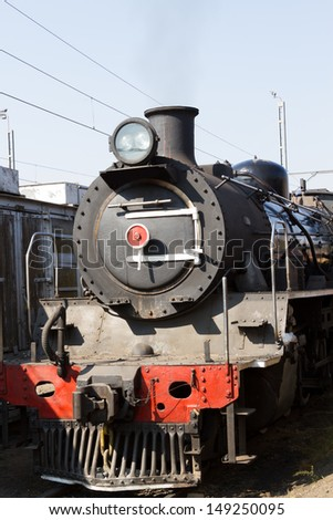 The front of a steam locomotive - stock photo
