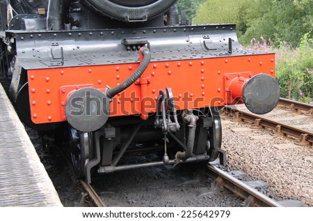 The Front of a Vintage Railway Steam Train Engine. - stock photo