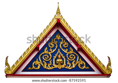 the front of roof Thailand's temple - stock photo