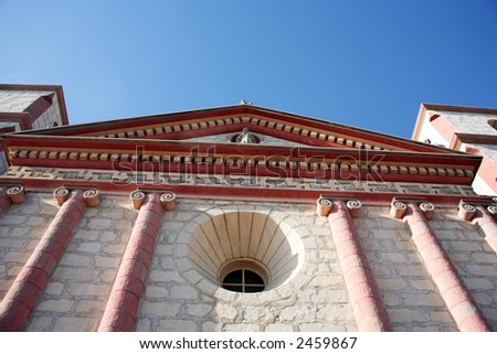 The front of the beautiful mission in Santa Barbara, California - stock photo