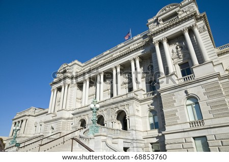 The front of The Library of Congress in Washington, DC. - stock photo