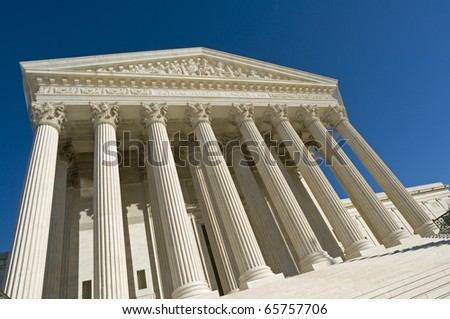 The front of the US Supreme Court in Washington, DC. - stock photo