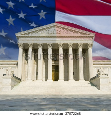 The front of the US Supreme Court in Washington, DC, montaged with the current US flag. - stock photo