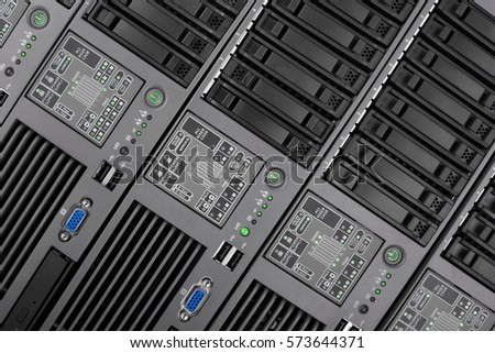 The front panel of the server closeup. Internet technology, obsolescent technology. Engineering technology