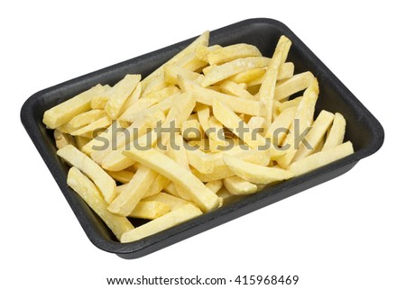 The frozen French fries potato strips for a browning in the boiling oil in standard plastic container. Isolated with patch - stock photo
