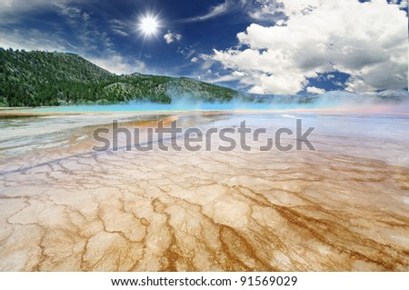 The Frozen Mirror Lake at Mount Rainier - stock photo