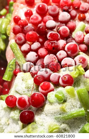 The frozen vegetables a cranberry
