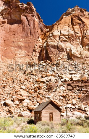 The Fruita School  is a one-room building constructed by residents in 1896, also served as a community center located in Capitol Reef National Park - stock photo