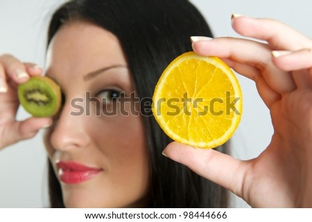 The fruits girl - stock photo