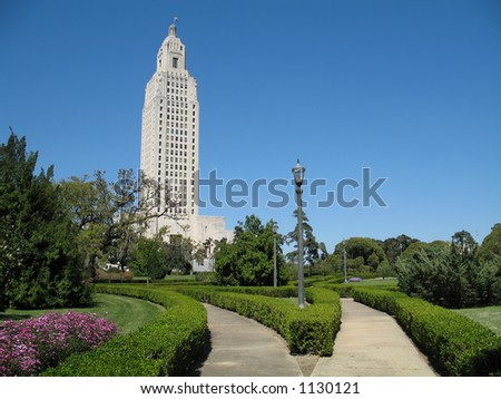 the 450 ft. Louisiana State Capitol Building, tallest capitol bldg. in U.S., built in 1930 landscape orientation