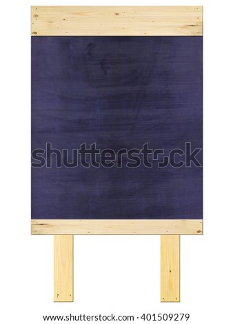 the full empty dark blue chalkboard/blackboard with wood frame on top and bottom, chalkboard with wood stand, on white background - stock photo