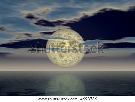 The full moon above ocean covered by small clouds