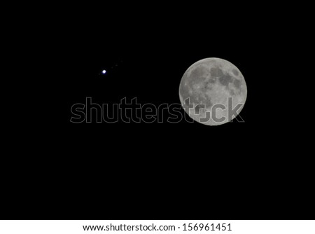 The full moon near Jupiter and its satellites