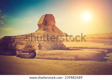 The full profile of the Great Sphinx with the pyramid in the background in Giza. Fantastic morning glowing by sunlight. Filtered image:cross processed lomo effect.  - stock photo