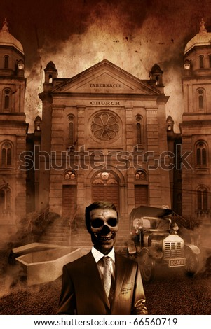 The Funeral Director Stands As Dead As His Clientele In Front Of A Hearse, Open Casket and Church Tabernacle - stock photo