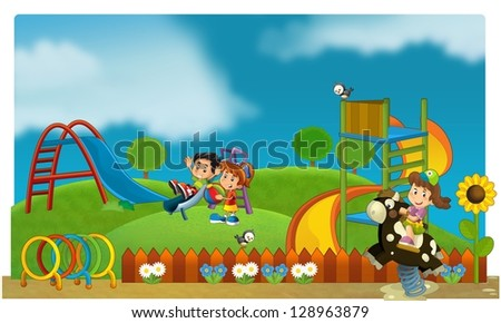 The funfair - playground - illustration for the children - stock photo