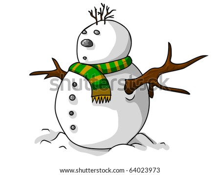 The funny snow man - stock photo
