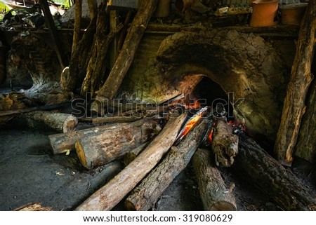 The furnace used in making pottery from clay pottery. - stock photo