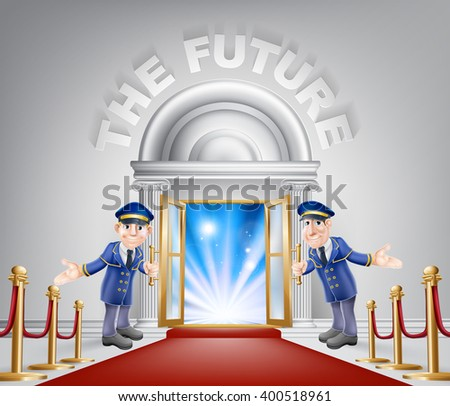 The future door concept of a doormen holding open a door at a red carpet entrance with velvet ropes. Light streaming through it, could be the door to the new future. - stock photo