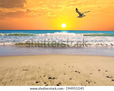 the gable in the sea at sunrise - stock photo