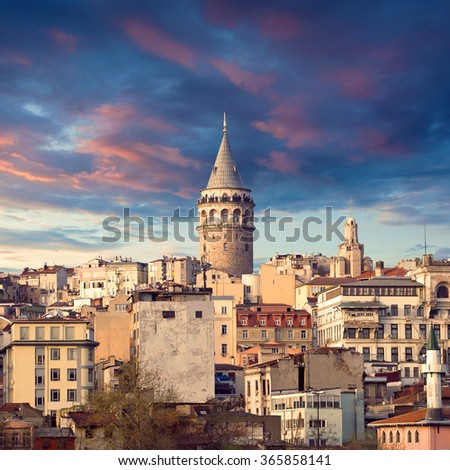 The Galata tower - stock photo