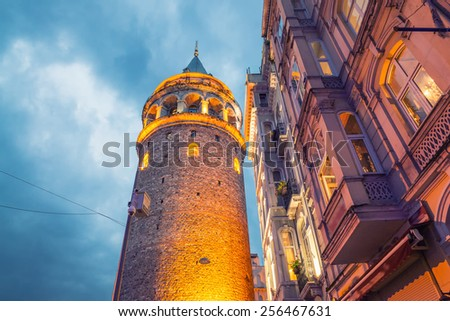 The Galata Tower, Beyoglu - Istanbul. Wonderful night colors. - stock photo
