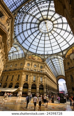 The Galleria Vittorio Emanuele II in Milan, Italy. - stock photo