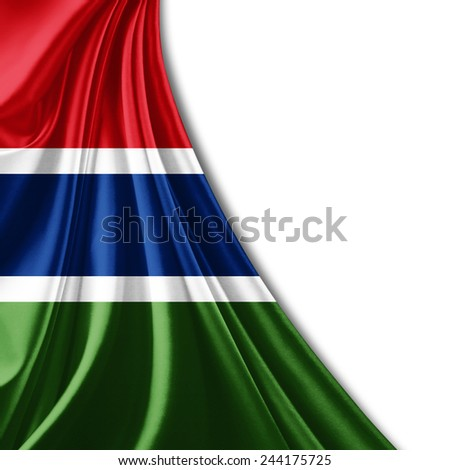 The Gambia flag and white background - stock photo