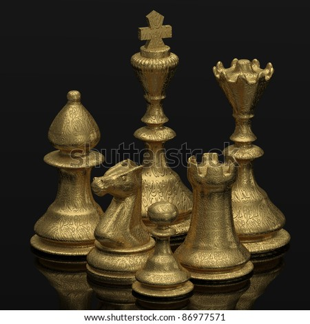 THE GAME chess board with figures Three Dimensional shape - stock photo