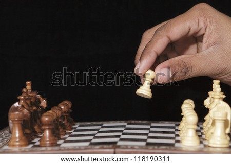 The game of chess begins with the first move - stock photo