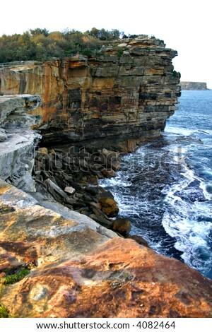 The Gap, a spectacular ocean cliff at Watsons Bay, near South Head, Sydney - stock photo