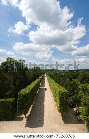The garden and alley of versailles palace, paris, france. - stock photo