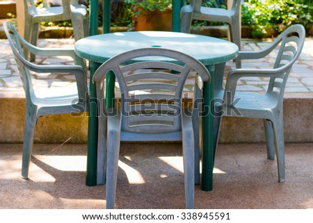 The garden chair and table