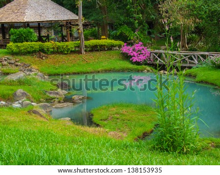 The garden of hot spring at Jae-son National Park , Thailand - stock photo