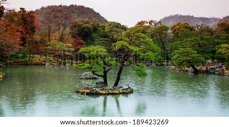 The garden of Kinkakuji Temple (The Golden Pavilion) in Kyoto, Japan - stock photo