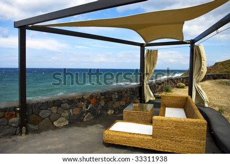 the garden rest area with sea view